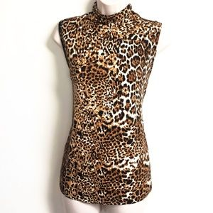 🆕 April leopard high neck sleeveless stretchy top